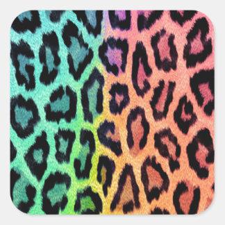 Tie Dye Leopard Print Square Sticker