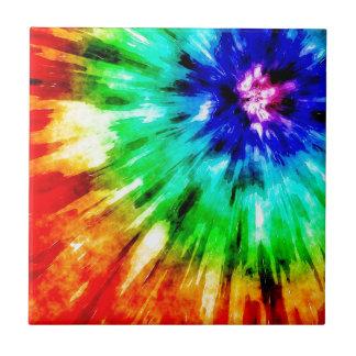 Tie Dye Meets Watercolor Ceramic Tile