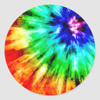 Tie Dye Meets Watercolor Classic Round Sticker