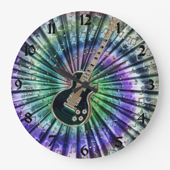 Tie-Dye Musicians Electric Guitar Clock + Numbers