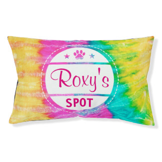 Tie Dye Paw Print Dog Name Spot Small Dog Bed