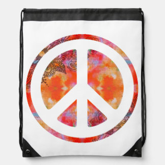 Tie Dye Peace Drawstring Bag