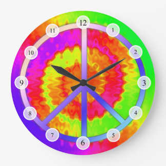 Tie Dye Peace Sign Clock