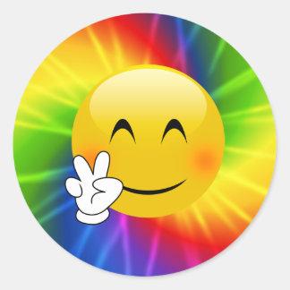 Tie-Dye Peace Sign Emoji Classic Round Sticker
