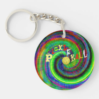 Tie Dye Pickleball Keychain