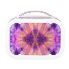 Tie Dye Pink Purple Radial Rays Spot Pattern Lunch Box