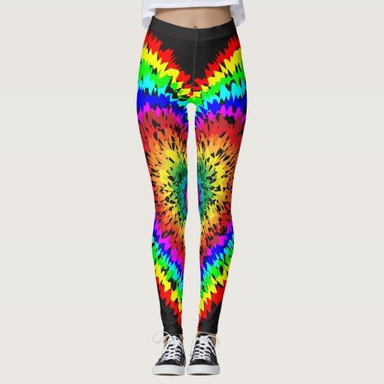 Tie Dye Rainbow Heart Leggings