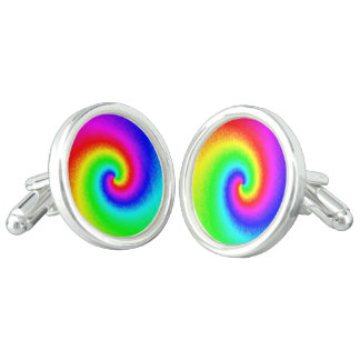 Tie-Dye Rainbow Swirl Cufflinks