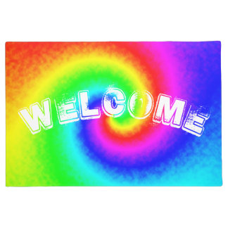 Tie-Dye Rainbow Swirl Customized Doormat