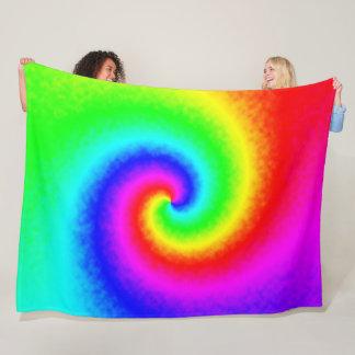 Tie-Dye Rainbow Swirl Fleece Blanket