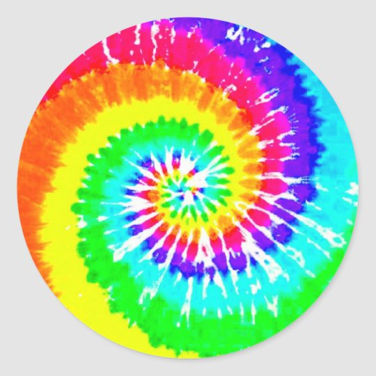 Tie Dye Rainbow Swirl Neon Rainbow Colours Pattern Classic Round Sticker