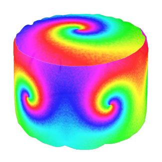 Tie-Dye Rainbow Swirl Round Pouf Ottoman