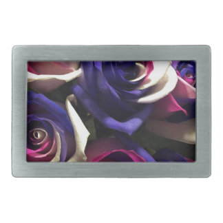 Tie Dye Roses: White, Pink, and Purple Rectangular Belt Buckle