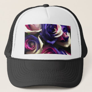 Tie Dye Roses: White, Pink, and Purple Trucker Hat