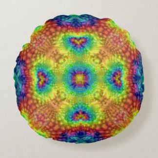 Tie Dye Sky Kaleidoscope Pattern Round Pillow