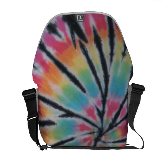 Tie Dye Swirl With Black Messenger Bag