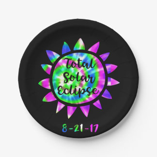 Tie Dye Total Solar Eclipse Paper Party Plate