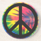 Tie Dyed Black Peace Sign Coaster