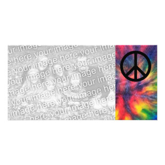 Tie Dyed Black Peace Sign Picture Card