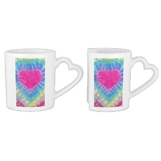 tie dyed heart, lovers mug set