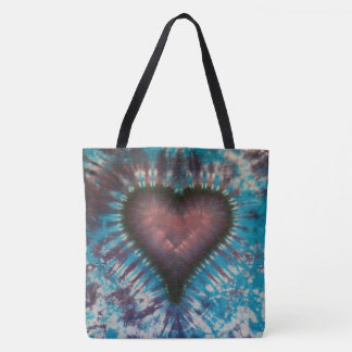 Tie-Dyed Heart Tote Bag