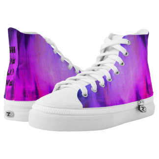 Tie-dyed  High top shoes with caption  at the back