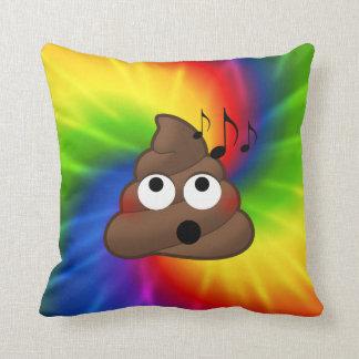 Tie Dyed Music Loving Poop Emoji Throw Pillow