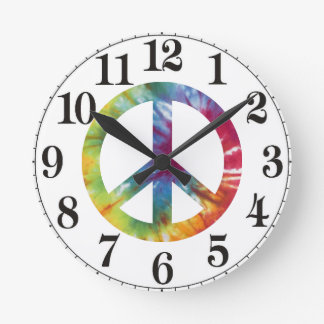 Tie Dyed Peace Sign Wall Clock