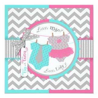 "Tie or Tutu & Chevron Print Gender Reveal Party 5.25"" Square Invitation Card"