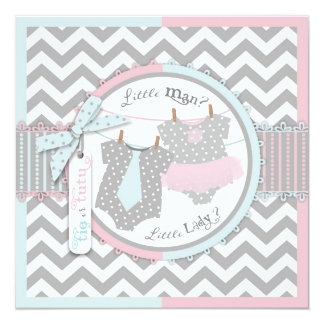 Tie or Tutu & Chevron Print Gender Reveal Party Card