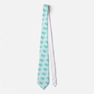 Tie Silver Leaves and Berries - Aqua