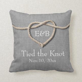 Tie the Knot Gray Burlap Wedding Pillow