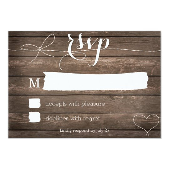 Tie the Knot Rustic Wood Wedding RSVP Card