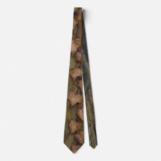 Tie with front brown fall leaves