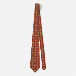 Tie with Gold Crosses and Medallions on Dark Pink