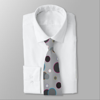 Tie with grey circles and colored outlines
