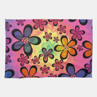 tiedye floral kitchen towel