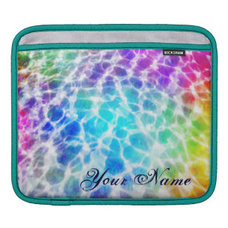 Tiedye Hippie Wavy Rainbow Effect Personalized iPad Sleeve