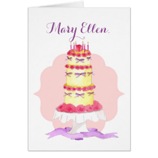 Tiered Cake Personalized Birthday Card