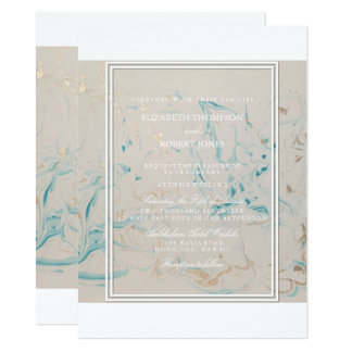 Tiffany Aqua and Champagne Gold Marble Card