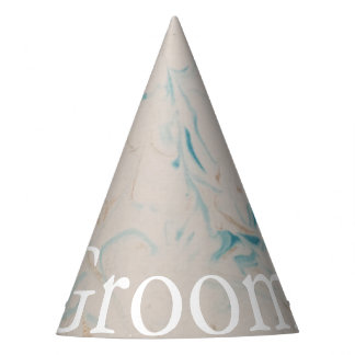 Tiffany Aqua and Champagne Gold Marble Party Hat
