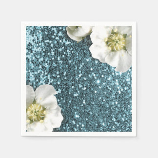Tiffany Aqua Beach Blue Jasmine Glitter Sequin Paper Napkin