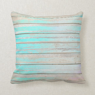 Tiffany Aqua Beach Home Blue Wood Gray Silver Throw Pillow