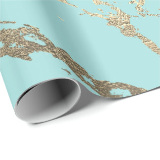 Tiffany Aqua Blue Gold Marble Shiny Glam Wrapping Paper