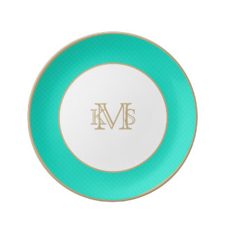 Tiffany Aqua Blue Quilted Pattern Porcelain Plates
