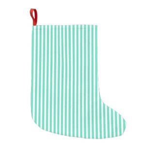Tiffany Aqua Blue Sailor Stripes Small Christmas Stocking