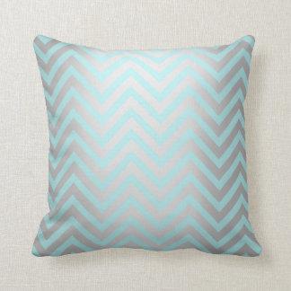 Tiffany Aqua Mint Ocean Blue Beach Chevron Silver Throw Pillow