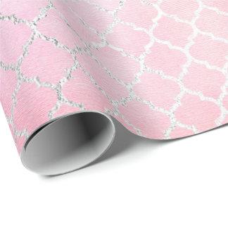 Tiffany Aqua Pastel Ombre Silver  Pink Quatrefoil Wrapping Paper