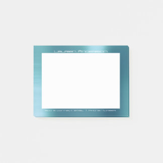 Tiffany Aqua White Office Custom Personalized Post-it Notes