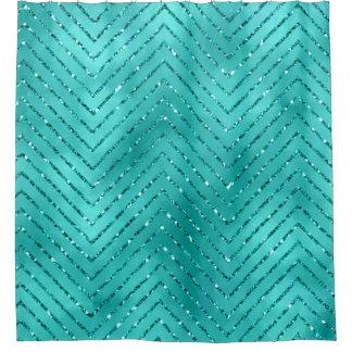 Tiffany Aquatic Blue Metallic Crystal Chevron Glas
